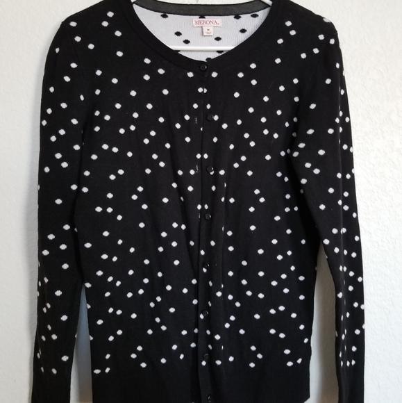Merona Sweaters - Woman medium marona black/while cardigan
